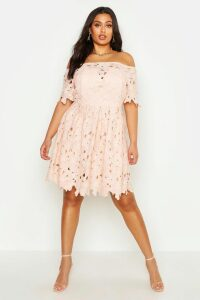 Womens Plus Boutique Off The Shoulder Lace Skater Dress - pink - 18, Pink