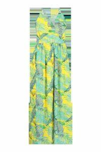 Womens Plus Plunge Front Palm Print Maxi Dress - yellow - 24, Yellow