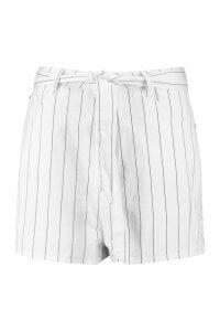 Womens Plus Stripe Tie Belted Mom Denim Short - cream - 20, Cream