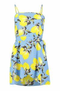 Womens Petite Lemon Print Belted Skater Dress - blue - 14, Blue