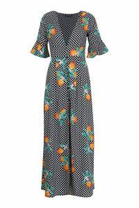 Womens Petite Citrus Polka Dot Print Button Up Maxi Dress - black - 12, Black