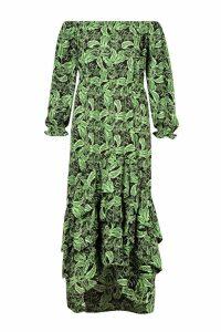 Womens Plus Tropical Printed Off Shoulder Maxi Dress - black - 24, Black