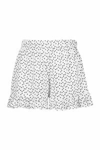 Womens Plus Heart Polka Dot Flippy Short - white - 16, White