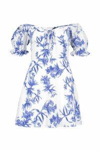 Womens Petite Off The Shoulder Floral Print Skater Dress - white - 12, White