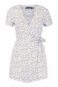 Womens Petite Ditsy Floral Print Woven Wrap Dress - white - 12, White