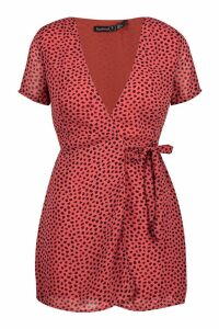 Womens Petite Woven Spot Wrap Dress - orange - 12, Orange