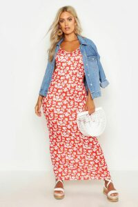 Womens Plus Ditsy Floral Printed Strappy Maxi Dress - red - 22, Red
