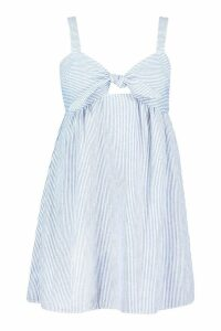 Womens Plus Stripe Linen Tie Front Sundress - blue - 20, Blue