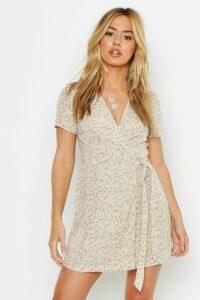 Womens Petite Ditsy Floral Print Woven Wrap Dress - tan - 14, Tan