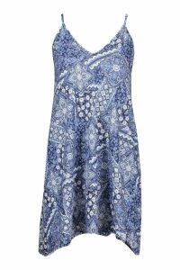 Womens Petite Paisley Print Swing Dress - blue - 4, Blue