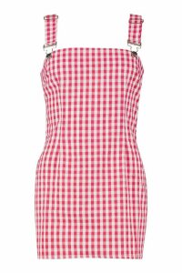 Womens Petite Gingham Pinafore Dress - red - 14, Red