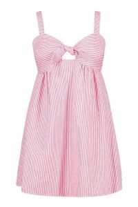 Womens Plus Stripe Linen Tie Front Sundress - red - 18, Red