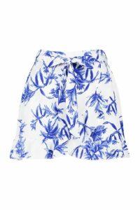 Womens Petite Floral Print Wrap Mini Skirt - white - 14, White