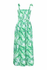 Womens Petite Tie Strap Shirred Tropical Print Maxi Dress - green - 8, Green