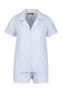 Womens Cotton Stripe Short Sleeve PJ Set - blue - S, Blue