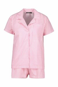 Womens Cotton Stripe Short Sleeve PJ Set - Pink - S, Pink