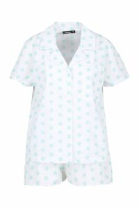 Womens Polka Dot Cotton Button Through PJ Shorts Set - green - M, Green