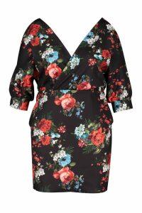 Womens Plus Floral Wrap Front Dress - black - 20, Black