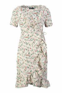 Womens Petite Woven Frill Hem Floral Wrap Midi Dress - white - 8, White