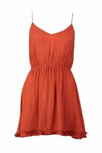 Womens Petite Spaghetti Strap Cheesecloth Smock Dress - orange - 10, Orange