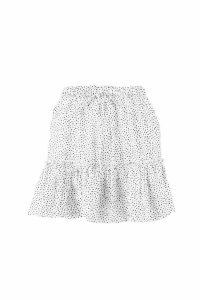Womens Petite Polka Dot Ruffle Skater Skirt - white - 10, White