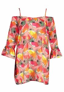 Womens Plus Tropical Fruit Cold Shoulder Beach Dress - Pink - 24, Pink