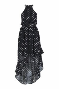 Womens Petite Polka Dot High Neck Shirred Waist Maxi Dress - black - 14, Black