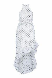 Womens Petite Polka Dot High Neck Shirred Waist Maxi Dress - white - 14, White