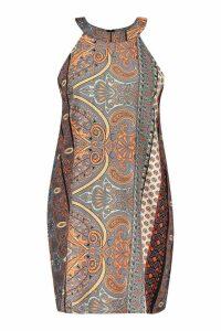 Womens Plus Paisley Print High Neck Smock Dress - black - 18, Black