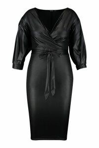 Womens Plus Leather Look Off Shoulder Midi Dress - black - 18, Black