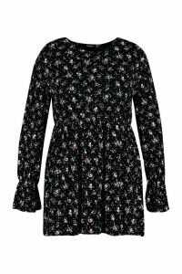 Womens Plus Ditsy Floral Long Sleeve Smock Dress - black - 22, Black