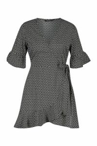 Womens Petite Distsy Heart Wrap Dress - black - 12, Black