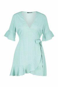 Womens Petite Distsy Heart Wrap Dress - green - 14, Green