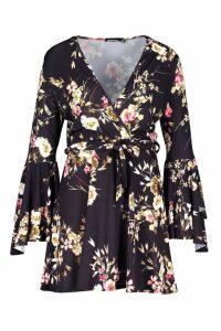Womens Plus Floral Wrap Extreme Ruffle Sleeve Dress - black - 18, Black