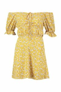 Womens Petite Ruched Off The Shoulder Dress - yellow - 10, Yellow