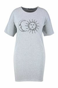 Womens Plus Sun And Moon T-Shirt Dress - grey - 18, Grey