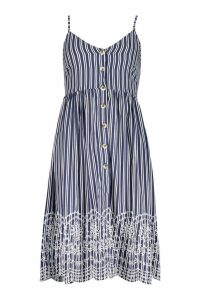 Womens Petite Stripe Embroidered Hem Midi Dress - navy - 8, Navy