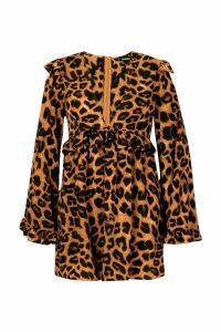 Womens Plus Leopard Print Frill Smock Dress - brown - 20, Brown