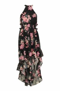 Womens Petite Floral Print Shirred Waist Maxi Dress - black - 8, Black