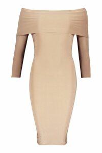 Womens Petite Slinky Bardot Midi Dress - beige - 10, Beige
