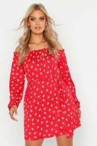 Womens Plus Off The Shoulder Floral Tie Waist Dress - red - 26, Red