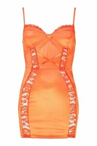 Womens Petite Lace Detail Satin Bodycon Dress - orange - 14, Orange