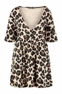 Womens Plus Leopard Ruffle Smock Dress - brown - 20, Brown