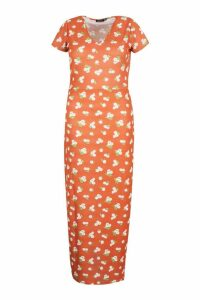 Womens Plus Large Scale Floral Cap Sleeve Maxi Dress - orange - 20, Orange