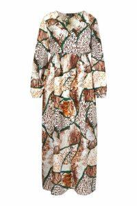 Womens Plus Mixed Animal Print Extreme Split Maxi Dress - brown - 20, Brown