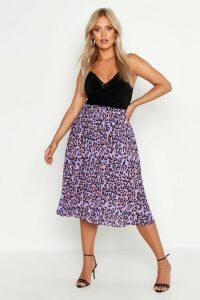 Womens Plus Leopard Print Pleated Midi Skirt - purple - 20, Purple
