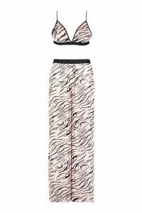 Womens Tiger Print Satin Bralet PJ Set - metallics - 16, Metallics