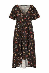 Womens Plus Dark Floral Woven Midi Dress - black - 24, Black