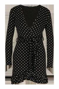 Womens Petite Polka Dot Ruffle Wrap Dress - black - 14, Black