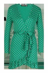 Womens Petite Polka Dot Ruffle Wrap Dress - green - 12, Green
